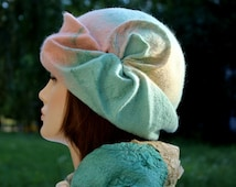 Women Blue White Pink Felt Hat vintage retro style handmade hat, 100% wool, bonnet