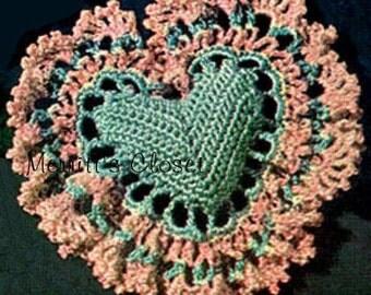 Heart Sachet Bag, INSTANT DOWNLOAD PDF Vintage Crochet Pattern