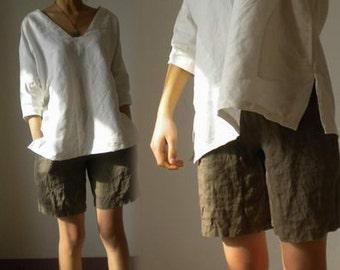 064---Women's V-neckline Linen White Kimono Blouse, White Shirt, Made to Order.