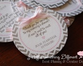Gray Chevron and Pink Favor Thank You Tags / Grey Chevron and Pink Favor Tags / Gray and Pink Favor Tags / Grey and Pink Baby Shower Tags