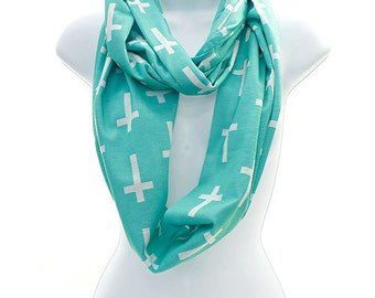 Personalized Infinity Scarf Cross - Christian - 4 colors to chose from