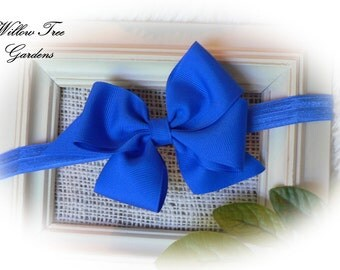 Royal Blue Boutique Bow Headband, Baby - Toddler - Girl - Adult Headband or Barrett. Photo Prop