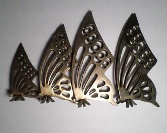 4 Vintage Brass Butterflies