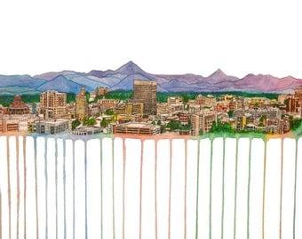 "Asheville Skyline Print 17x12"""