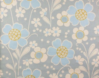 Perfect Vintage Blue Floral Wallpaper Stunner Original 1970s - LAST TWO