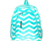 Aqua Chevron Monogrammed Backpack - Trendy Adorable Look for your Student