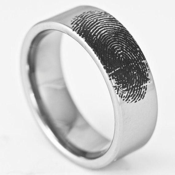 custom engraved fingerprint wedding band mens by