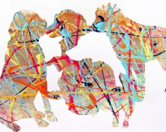 """Dogs, Monoprint, Abstract, Screen Print, """"Daze of the Dog"""""""