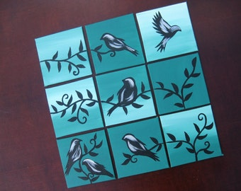 teal green and black bird paintings On canvas panels. Can be applied to your wall without nails. Small art for presents or yourself. home