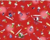 Merriment Fabric from P & B Textiles, Christmas Red Toss by the Yard