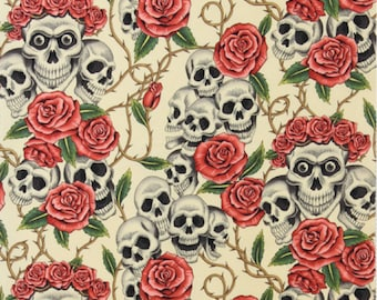 The Rose Tattoo (skulls & roses) in Tea Alexander Henry De Leon Design Group By the Yard