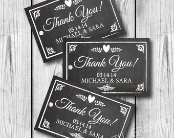 Printable Wedding Tags, Printable Wedding Favor Tags, Chalkboard Personalized Favor Tags, Custom Wedding Favor Tags, Custom Favor Tags