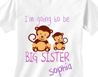 Personalized new big sister announecment monkey shirt, baby monkey