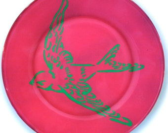 Pink Hand Painted Sparrow Plate