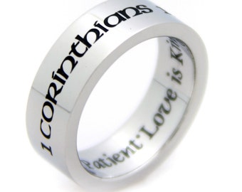 "Corinthians ""Love Is Patient Love Is Kind"" Stainless Steel Ring"
