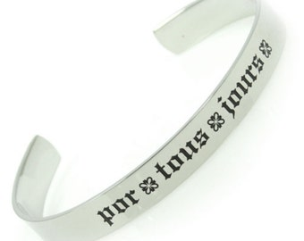 Pour Tous Jours For All Days French And English Poesy Cuff Bracelet