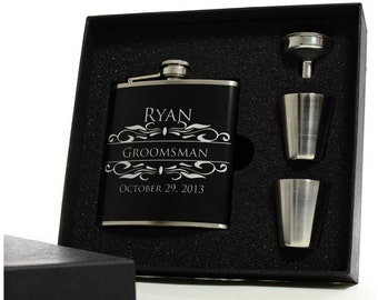 4 // Personalized Flasks for Groomsmen // Gift Boxed Flask Sets with Shot Glasses and Funnels