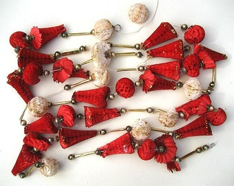 "Vintage 96"" Honeycomb Paper Garland, Mercury Glass Beads"