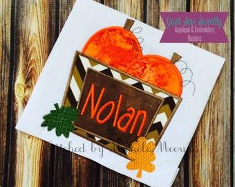 Pumpkin Basket Applique Design - Embroidery Machine Pattern fall, autumn, leaves