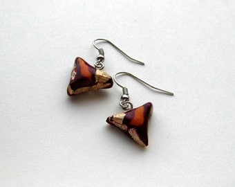 Maroon Yellow Upcycled Gold Foil Shark Tooth Earrings