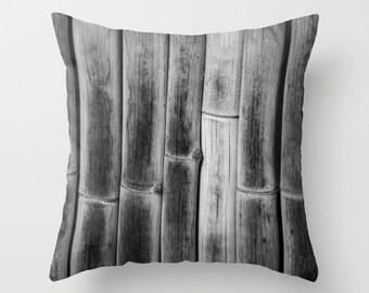 Decorative Pillow, Linear, Bamboo Fence Photo, a Photographic Home Decor Pillow Cover 18x18