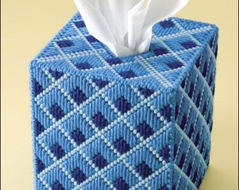 DIAMONDS DELUXE -  Boutique Size Tissue Box Cover - Needlepoint on Plastic Canvas