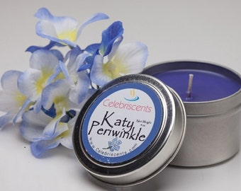 Katy Periwinkle sweet, freesia flowery periwinkle scented soy candle.