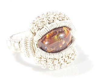 Fire agate heady wire wrap ring size 13.5 , Fire agate ring
