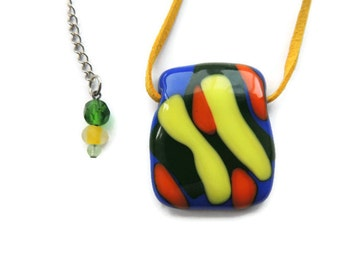 fused necklace,blue orange yellow green glass pendant necklace,blue orange and yellow fused necklace,colorful fused necklace,gift for her