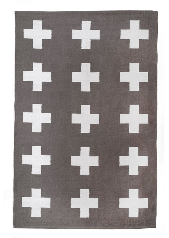 Union Rug 8x10 Grey And White Cross Cotton Dhurrie Rug Plus