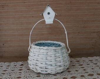 IVORY Flower Girl Basket, SHABBY CHIC Basket, Picnic Basket, Shabby Chic Weddings, Wedding Basket, Rustic Flower Girl Basket