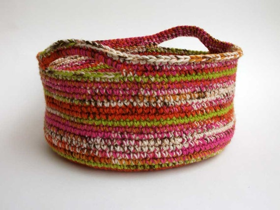 Handmade Crochet Basket : Storage basket handmade by crochet on multicolored acrylic