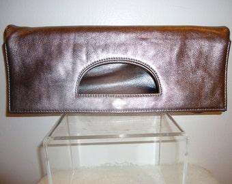 Beautiful Pewter Leather Clutch/Handbag