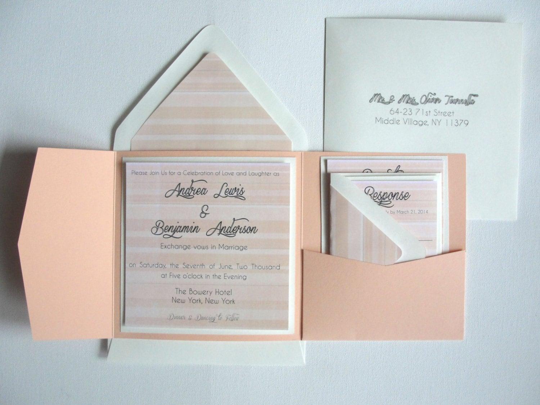 Sunrise Wedding Invitations: Wedding Pocket Fold Square Invitations Set / Sunrise By