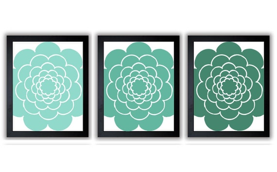Blue green teal flower bathroom decor bathroom print set of 3 for Teal green bathroom accessories