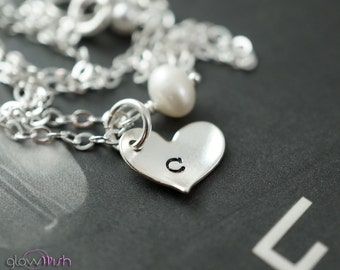 Minimalist necklace, personalized initial necklace, small charm, hand stamped, silver heart charm necklace