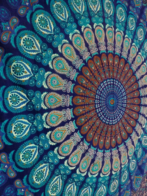 Blue color theme queen size mandala wall by indianhometextile for Space themed tapestry