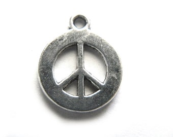 6 Medium Silver Peace Charms - 17mm