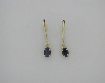 Genuine Iolite Dangle Earrings Solid 14kt Yellow Gold
