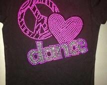 Dance Shirt. Peace Love Dance T-Shirt. Rhinestone Studded Dance Tank Top. Girl's Sports Shirts. Mom Shirts. Gift for dancer. 5/6, 7/8.