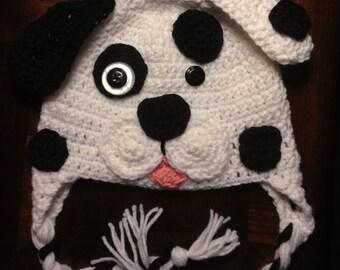 Crochet Puppy Hat, Dalmatian Hat, Winter Hat, Earflap Hat