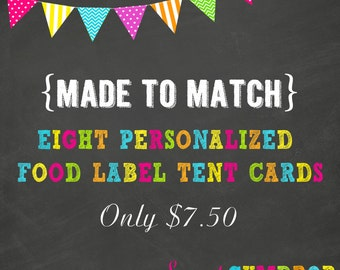 Personalized Food Tent Labels - Printable