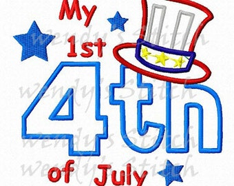July 4th patriotic hat applique machine embroidery design