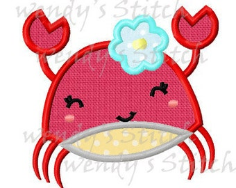 Girly crab applique machine embroidery design instant download