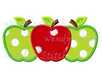 Tree apples back to school applique machine embroidery design instant download