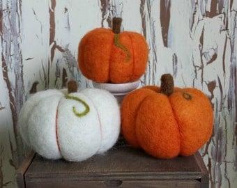 Pumpkins Needle Felted Trio