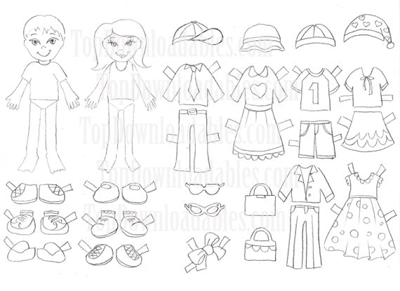 Coloring Paper Doll Kids Sheet Digital by TopDownloadables ...