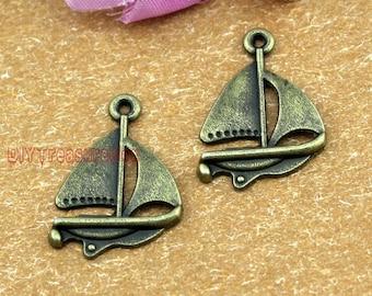 30pcs--Sail boat Charms, Antique bronze Sailboat  charm Pendants  24x17mm