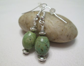 Magnesite and Silver Earrings