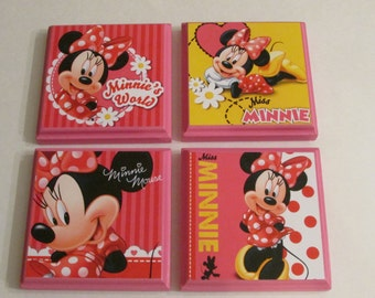 minnie mouse room wall plaques set of 4 minnie mouse girls room decor minnie - Bedroom Wall Plaques